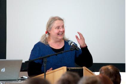 Gro Dahles presentation. Photo by Skandibok.at